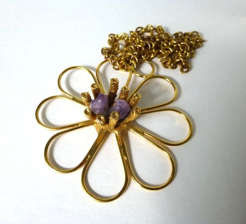 Jacob Hull gold-tone chain with gold-plated and amethyst  pendant