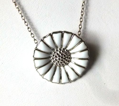 Georg Jensen white rhodinated silver daisy pendant and chain