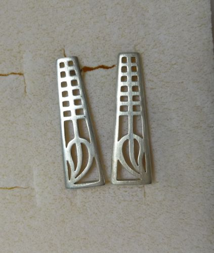 Carrick Jewellery Ltd silver Mackintosh inspired long earrings with posts