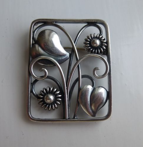 Danish midcentury silver floral brooch