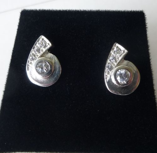 Sterling silver ear studs with clear stones