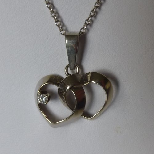 Siersbøl Sterling silver double heart pendant chain