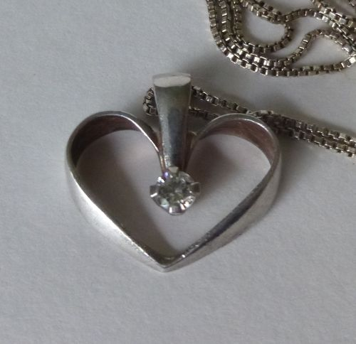 Bernhard Hertz Sterling silver heart pendant with small cut stone