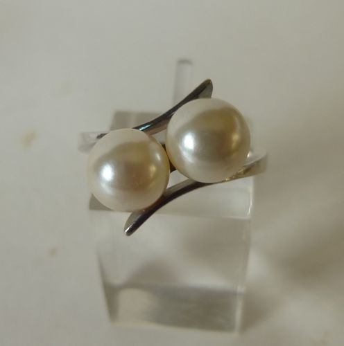 Siersbøl Sterling  silver ring with 2 pearls, size M-N / 6.5 / 53 or O-P/ 7.5/56