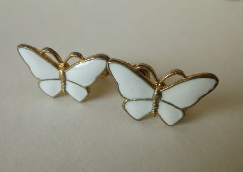 Scandinavian Sterling white enamel butterfly screw earrings