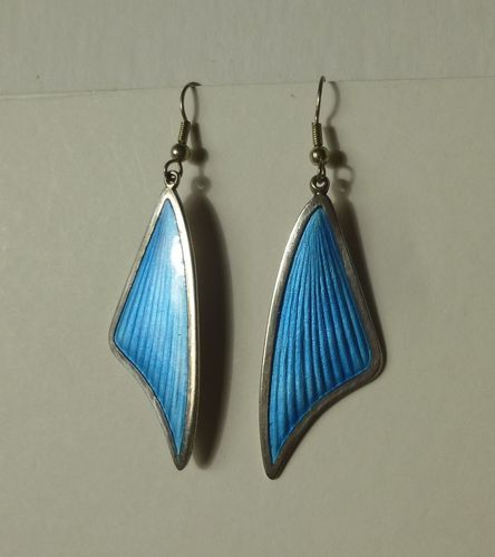 Brd. Bjorklund Sterling large abstract blue earrings, hooks