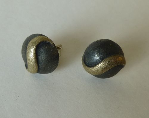 Aagaard Sterling silver oxidised ear studs with gold