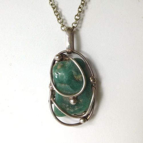 Brdr. Bjerring  brutalist green stone pendant on chain