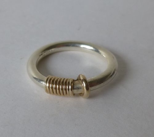 Herman Siersbøl Sterling gold wire ring, size P, 8, 57