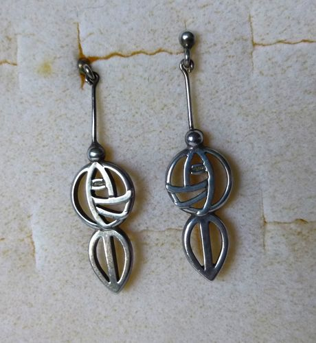 Carrick Mackintosh style Sterling drop earrings with posts
