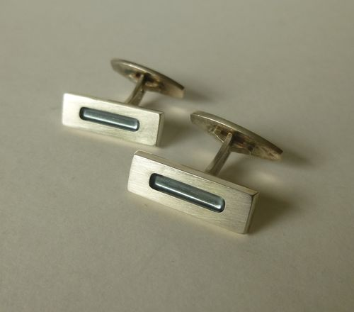 Hans Hansen  Sterling silver oxidised groove cufflinks no. 645