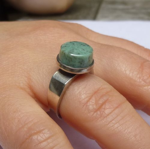 David-Andersen Sterling modernist jade ring, adjustable