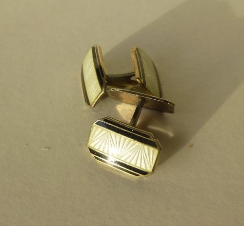 Norwegian Sterling gilt  Deco double black and white enamel cufflinks