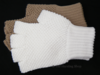 Fingerless Knitted Cotton Hunting Gloves. White or Beige.