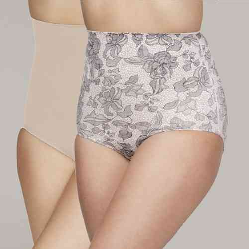 Your Secret Control High Waist Pants - 2 Pack - Rose Print & Nude