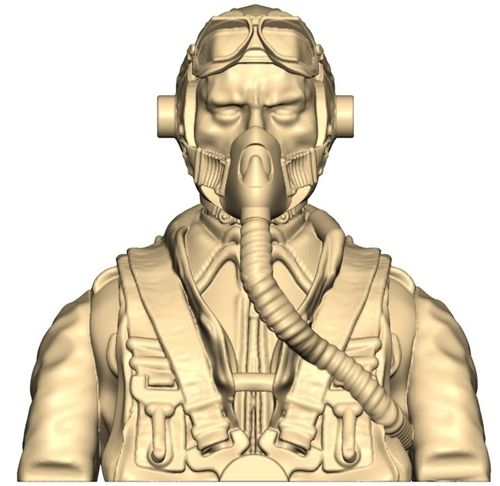 2102 WW2 German pilot bust with mask on and goggles up