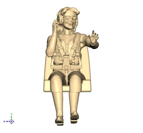 3310 Civil Full Body female pilot with life preserver