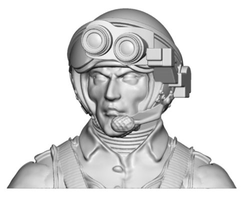 4102a Helicopter pilot with night vision helmet