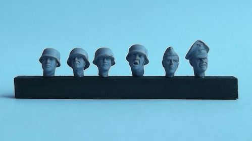 WH35004, 1/35th scale WWII German Heads set 1 (6 heads)
