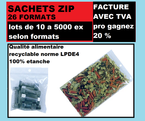 Sachet 50 x 70 mm  fermeture ZIP Transparent 50u