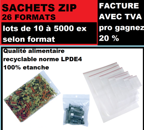 Sachet 180x 250 mm  fermeture ZIP Transparent 50u