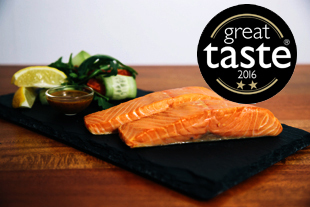 Fillets of hot smoked salmon