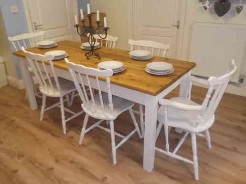 Stunning Large , Country Farmhouse table & 6 Oak chairs (inc 2 carvers)  # # SOLD # #