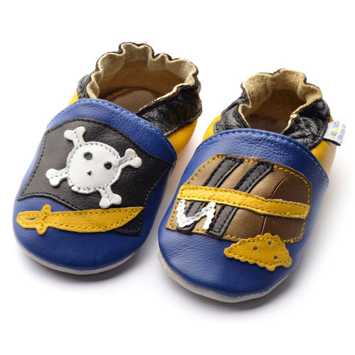 NEW! amsomo pirate navy / Piratenflagge / Lederpuschen / Krabbelschuhe / Boys