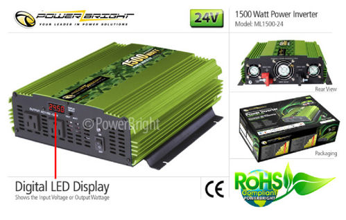 Power Inverter 24VDC 110VAC 1500 Watt mod. Sinusausgang, CE