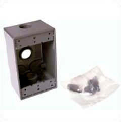 "Hubbell Weatherproof Single-Gang-Box 3 x 1/2"" Outlets 5320-0"