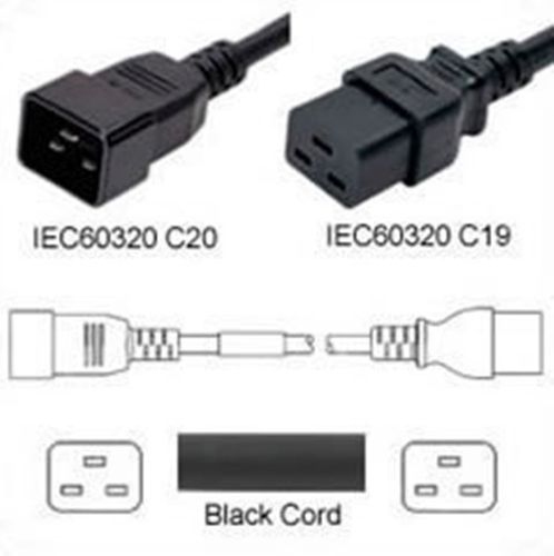 Black Power Cord C20 Plug to C19 Connector 7.6m 20A 250V 12/3 SJT