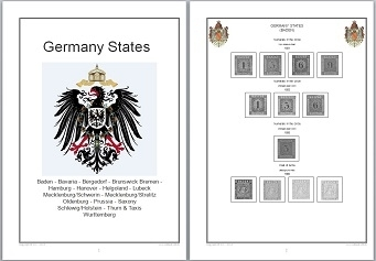 Stamp Album Pages Germany States on CD in WORD & PDF (English) for Self-Printing