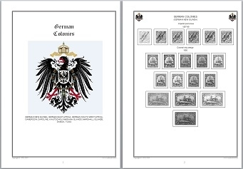 Stamp Album Pages German Colonies CD in WORD PDF (English) for Self-Printing