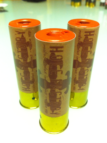 "Aufkleber ""Hole Factory - tan"" für Shotgun-Shell 3x10 Rounds"