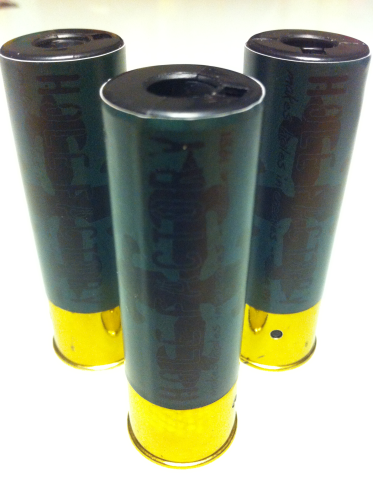 "Aufkleber ""Hole Factory - wood"" für Shotgun-Shell 3x10 Rounds"