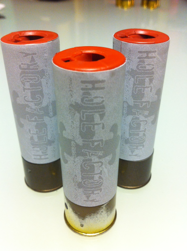 "Aufkleber ""Hole Factory - white"" für Shotgun-Shell 3x10 Rounds"