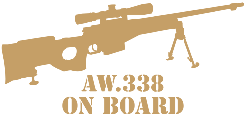 "Aufkleber ""AW338 On Board"" gold"