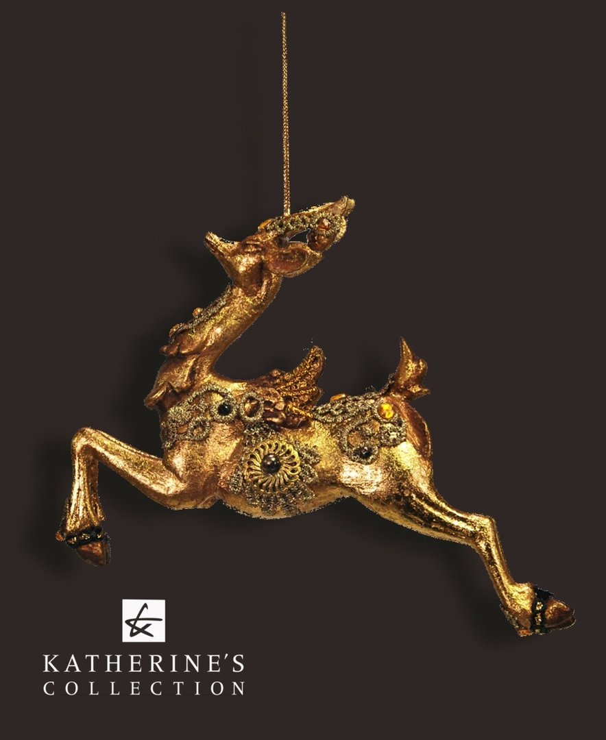 Leaping Gold Reindeer Ornament