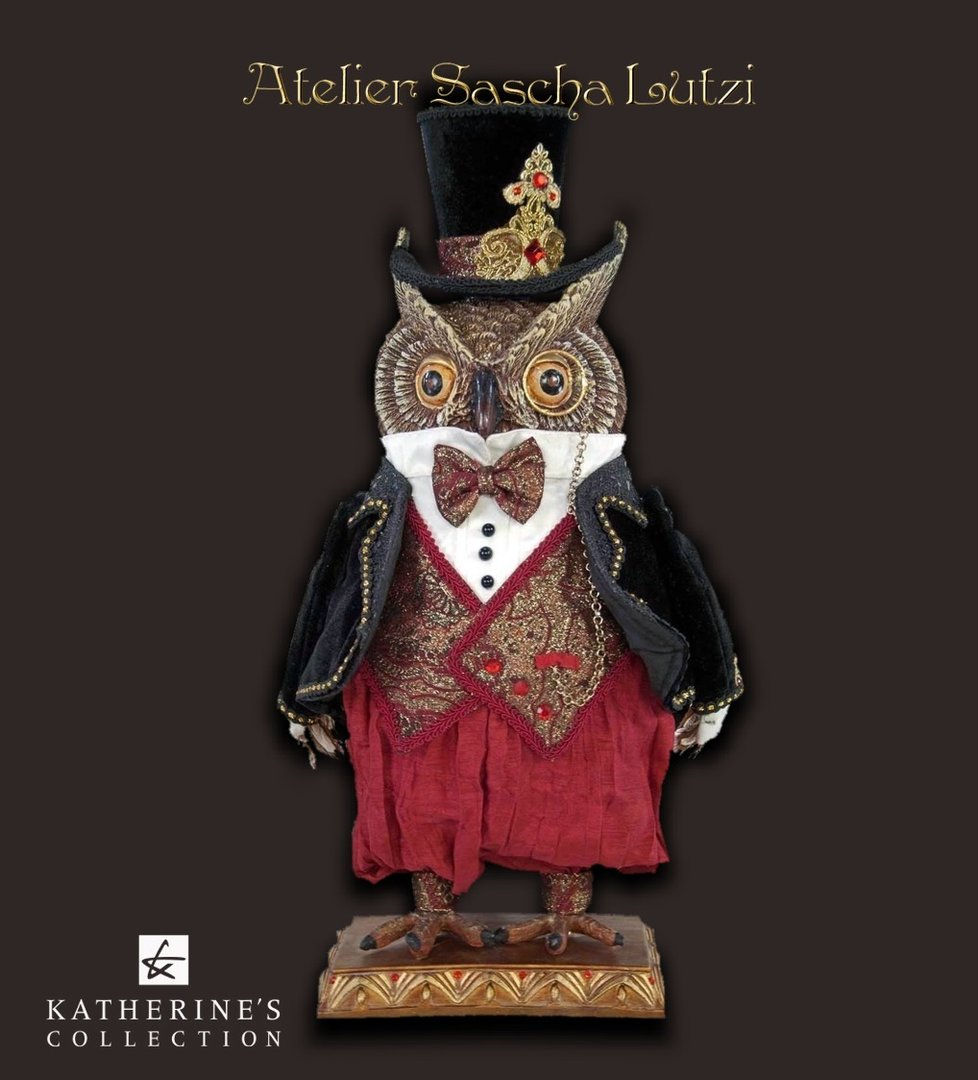 Katherine´s Collection Eule, Holiday Cheer Owl 46cm