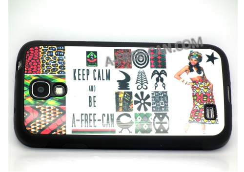 "COQUE pour / PHONE CASE for Samsung Galaxy S4: ""KEEP CALM + ADINKRA + AO"" (By A-FREE-CAN.COM)"