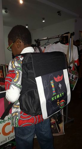 Grand Sac à dos / Big back bag : BIG ONE BLACK KEMET 1 DJED 3 ANKH