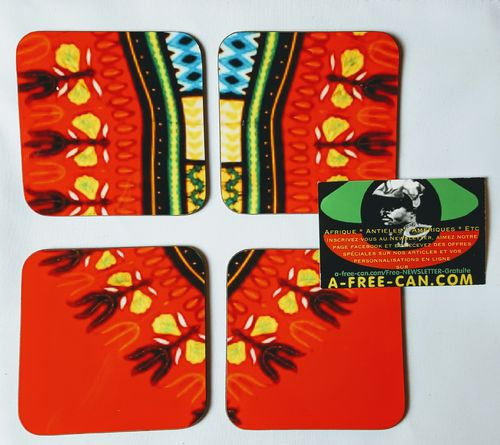 "Sous-Verres (Lot de 4 ) / Coasters (Set of 4): ""DASHIKI R2"" by A-FREE-CAN.COM"