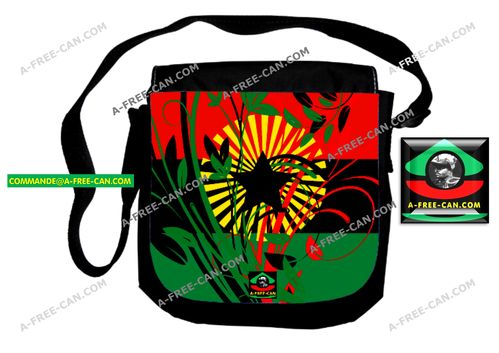 "Petit Sac / Small Bag: ""RBG FLOWER POWER BLACK STAR v2"" by A-FREE-CAN.COM"