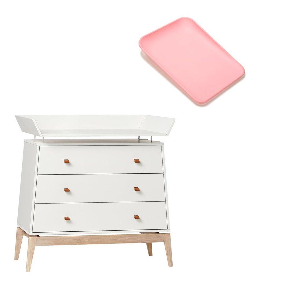 Leander Luna Wickelkommode weiß/Eiche + Matty soft pink