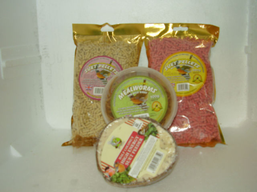 WILDBIRD-FOOD-TREAT HAMPER SUET-MEALWORMS,COCONUT FEEDER- FEED THE BIRDS