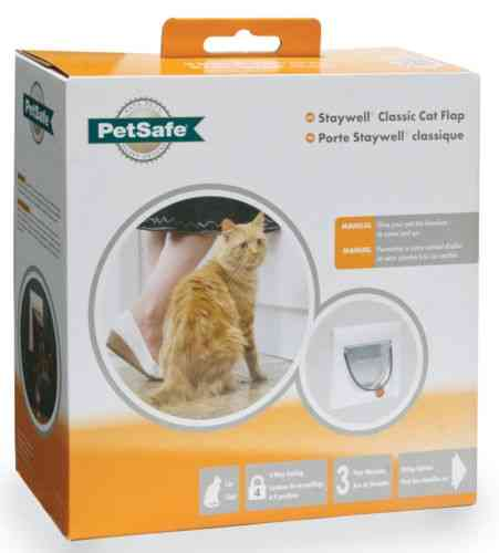 STAYWELL white with tunnel CAT FLAP