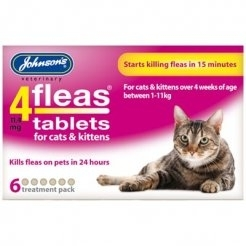 Cat flea tablets Johnson's cat and kitten over 1kg 6 in a pack
