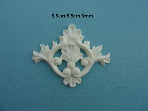 SHABBY /& CHIC SHELL CENTER ARCHITECTURAL ONLAY PEDIMENT APPLIQUE